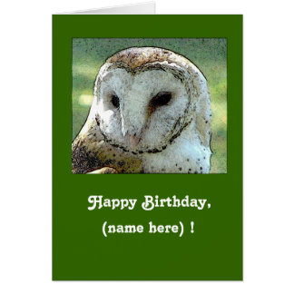 Personalized Owl Hooting Birthday Card