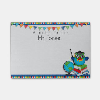 Personalized Owl on Books Teachers Post It Notes