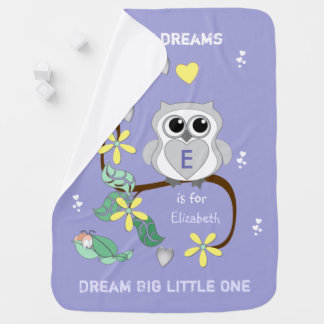 Personalized Owl purple Baby Baby Blanket