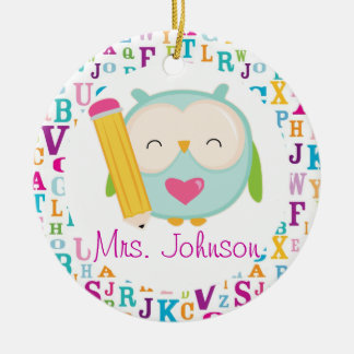 Personalized Owl School Teacher Ornament