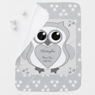 Personalized Owl silver grey and stars baby Baby Blanket