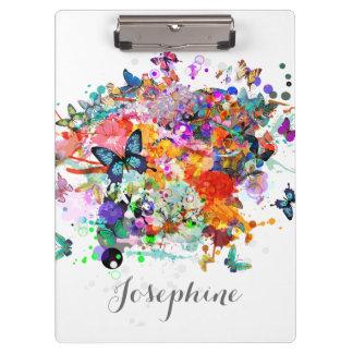 Personalized Paint splash Butterflies clipboard