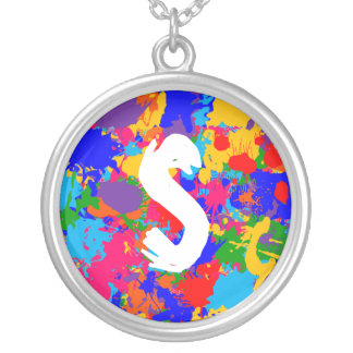 Personalized Paint Splatter Silver Plated Necklace