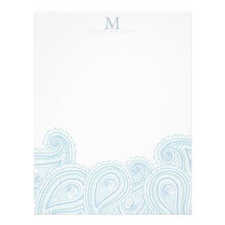 Personalized Paisley Waves Stationary Letterhead