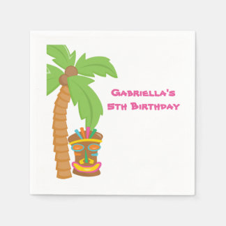 Personalized Palm Tree Luau With Tiki Napkin Paper Napkins