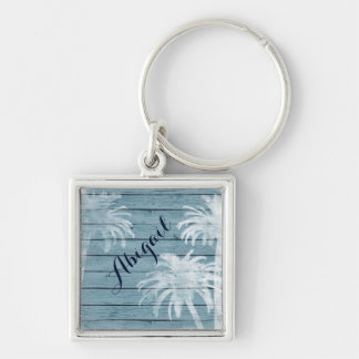Personalized Palm Trees on Rustic Wood Beach Silver-Colored Square Keychain