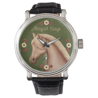 Personalized Palomino and Flowers Horse Watch