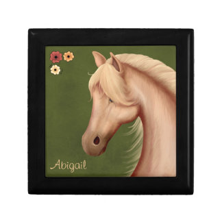 Personalized Palomino Pony and Flowers Horse Gift Box