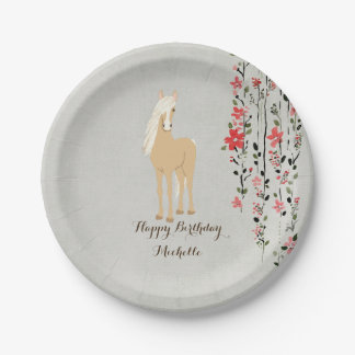 Personalized Palomino Pony Flowers Horse Birthday 7 Inch Paper Plate