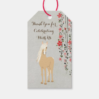 Personalized Palomino Pony Flowers Horse Birthday Pack Of Gift Tags