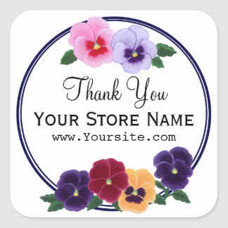 Personalized Pansies Floral Thank You Square Sticker