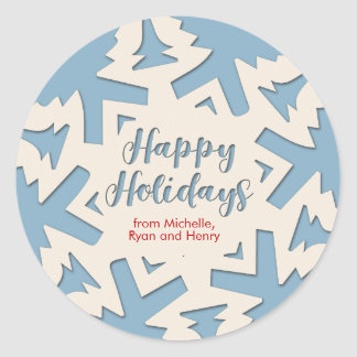 Personalized Paper Cut Out Holidays Snow Flake Classic Round Sticker