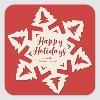 Personalized Paper Cut Out Holidays Snow Flake Square Sticker