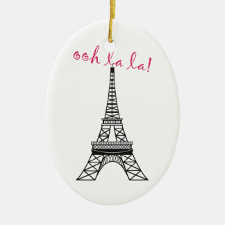 Personalized Paris Eiffel Tower Christmas Ornament