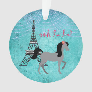 Personalized Paris Pony Oh La La Grey Horse Ornament