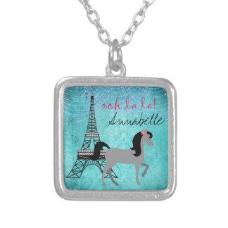 Personalized Paris Pony Oh La La Grey Horse Silver Plated Necklace