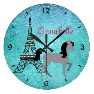Personalized Paris Pony Oh La La Grey Horse Wall Clock