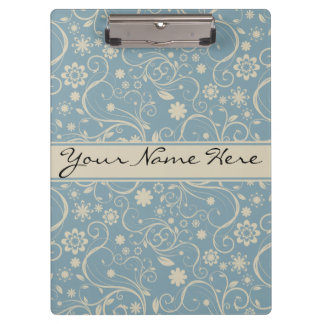 Personalized Pastel Blue and Taupe Floral Pattern Clipboard