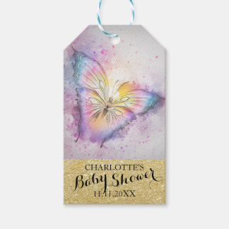 Personalized Pastel Butterfly Colorful Baby Shower Gift Tags