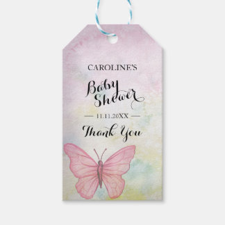 Personalized Pastel Butterfly Pink Baby Shower Gift Tags