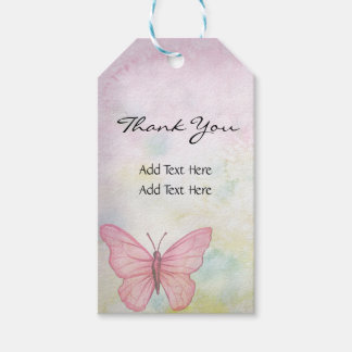Personalized Pastel Butterfly Pink Gifts Favors Gift Tags