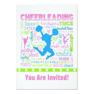 Personalized Pastel Cheerleading Words Typography Card