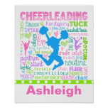 Personalized Pastel Cheerleading Words Typography Poster