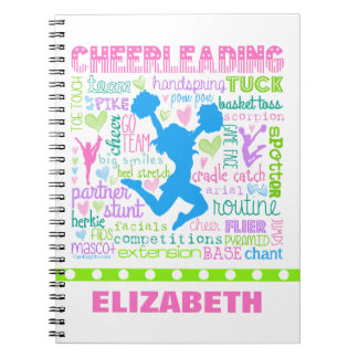 Personalized Pastel Cheerleading Words Typography Spiral Notebook