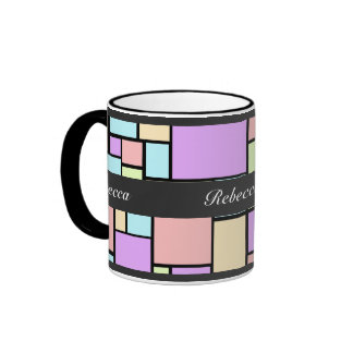 Personalized Pastel coloured cubism pattern Ringer Mug