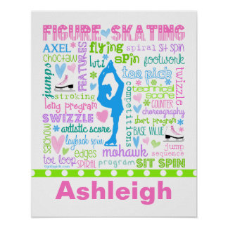 Personalized Pastel Figure Skater Words Typography Poster