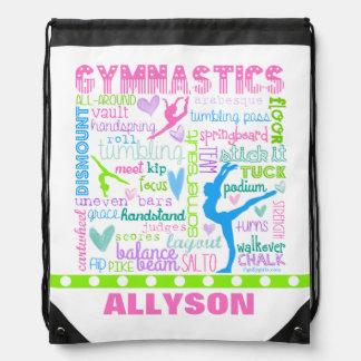 Personalized Pastel Gymnastics Words Typography Drawstring Bag