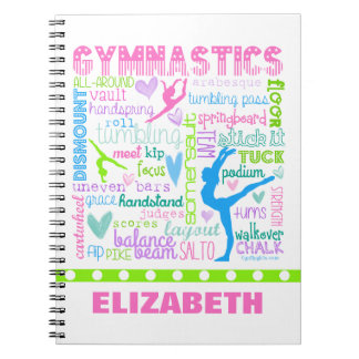 Personalized Pastel Gymnastics Words Typography Spiral Notebook