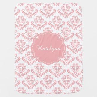 Personalized Pastel Pink Damask Print Baby Blanket