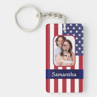 Personalized Patriotic American flag Double-Sided Rectangular Acrylic Keychain