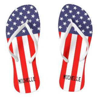 Personalized patriotic American flag flip flops