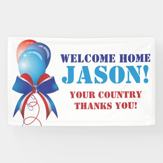 Personalized Patriotic Welcome Home Military Banner