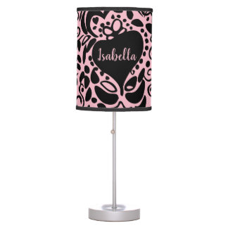 Personalized, Patterned pink, Nursery Table Lamp