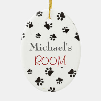 Personalized Paw Print Door Sign Ceramic Oval Ornament