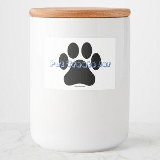 Personalized Paw Print Pet Treats Food Label Jar