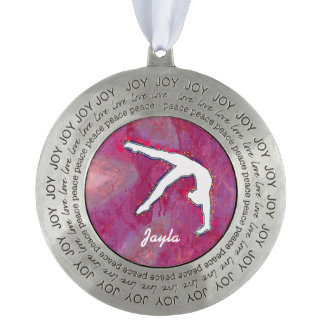 Personalized Peace Girls Gymnast Dancer Ornament Round Pewter Ornament