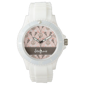 Personalized Peace Lacrosse Wrist Watches