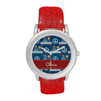 Personalized Peace Love Blue Whale Wristwatches