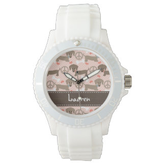 Personalized Peace Love Doxie Watch