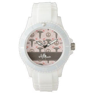 Personalized Peace Love MD Caduceus Watch