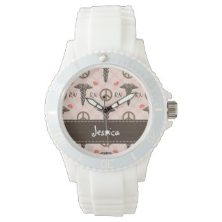 Personalized Peace Love Nursing Caduceus Watch