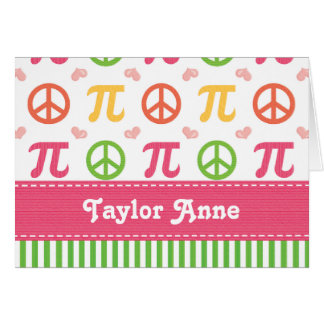 Personalized Peace Love Pi Note Cards