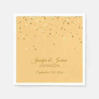 Personalized PEACH Orange Gold Confetti Wedding Paper Napkins