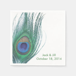 Personalized Peacock Feather Napkin Disposable Napkins