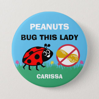 Personalized Peanut Allergy Alert Ladybug 3 Inch Round Button
