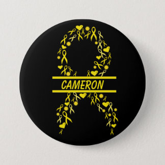 Personalized Pediatric Cancer Awareness Ribbon Pin